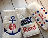 Nautical  Personalized  Burp Cloths Set of 3 Anchor, Whale, and Dot Frame - Cute for Boy's