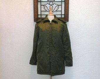 Mens Hooded Jacket Vintage Olive Green Coat - S