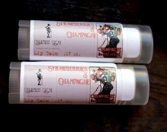 STRAWBERRY CHAMPAGNE Lip Balm, For Her, Unsweetened, Handmade, Highly Moisturizing