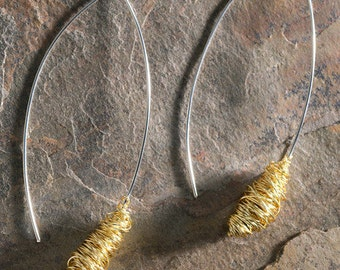 White Gold Earrings with Yellow Gold Wrap
