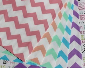 100 Chevron Party Favor Bags in Rainbow in Pink, Coral, Mint, Aqua and Purple, Wedding Favor Bags, Candy Bags, Popcorn Bags