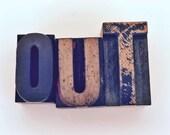 Vintage Wooden Letterpress OUT Home Decorative Letter Type Display