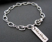 Jewelry Mothers Bracelet - Sterling Silver - Personalized - Silver Mom Bracelet - Charm Bracelet - Bar Bracelet - Engraved Jewelry - Gifts