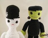 Mr. & Mrs. Frankie M. Stein Amigurumi Monster Plush Dolls