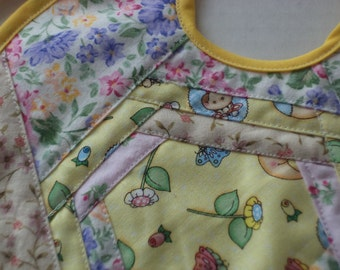 Baby Bib, Pieced and Quilted Spring Floral Prints Baby Girl, Ready to Ship
