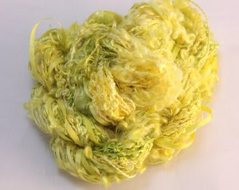 Bright Yellow Lemon Lime  green Silk sewing Thread Silk ribbon embroidery Hand Dyed quilting thread weaving yarn fibre art embellishment