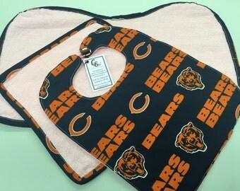 Chicago Bears Baby Bib/Washcloth/Burp Cloth Set_Pink