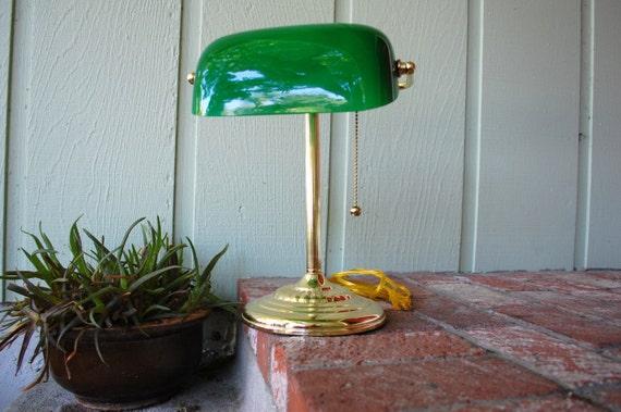 Vintage Emerald Green and Gold Portable Desk Lamp Felt Bottom – Green Desk Lamps