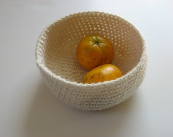 crocheted off-white wool nesting bowl