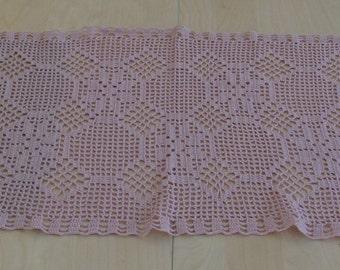 Light purple hand crochet table runner
