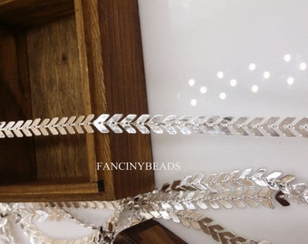 10 feet fantastic  chevron chain  silver plating over raw solid brass chain-F1382