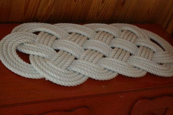 "Cotton Soft Rope Rug 27"" x 12"" Off-White Bath Mat Nautical Beach Decor Knotted"