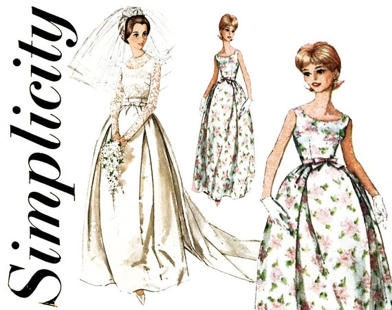 1960s Wedding Dress Pattern Simplicity 5343 Evening Bridal