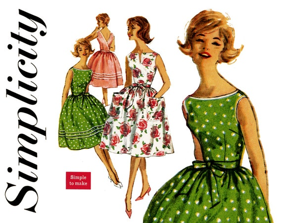 1960s Dress Pattern Bust 34 Simplicity 3463 Wrap Around Low