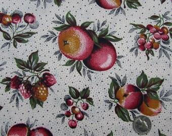 "Apples & Cherries Cotton Fabric - 35"" W x 2.75 yards - Vintage"