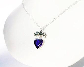 TITANIC SAPPHIRE BLUE Vinage Glass  Bow Heart Necklace