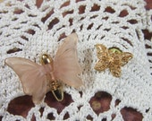 TWO ITEMS for One Price -Vintage Peach Frosted Tack & Petite Gold Filigree Butterfly Tack-BUT-10 - Butterfly Gold Filigree Tack