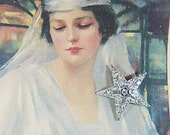 Vintage Silver and Rhinestone Star Brooch - BR-503 - Rhinestone Brooch - Brooch-Silver Star Brooch