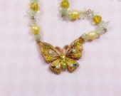Vintage Victorian Enamel and Filigree Guilloche Butterfly Necklace - BUT-157 - Enamel Butterfly Necklace - Guilloche Necklace