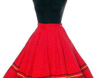 Vintage 1950s Full Circle Skirt Red Quilted Cotton Strawberry Mini Print Very Small Teens
