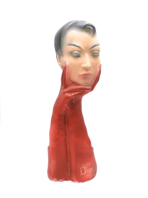 Rare Vintage Christian Dior Mannequin French Head Bust La Femme Head Art Deco Display
