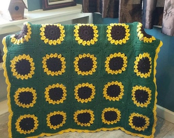 Cheerful Sunflower Afghan Ready to be Shipped