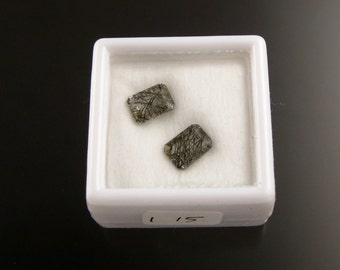 Two Tourmalated Quartz faceted rectangle 5x7mm emerald cut loose gemstones parcel 115