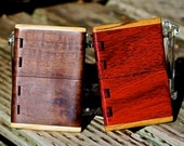 Handmade Wood Business Card Holder of Black Walnut or Padauk with integral wood hinge