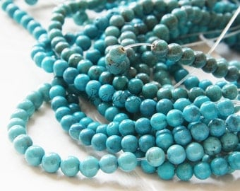 One Full Strand / 16 Inches/ Turquoise Reconstructed / Round / Semiprecious Stone 4mm (M453)