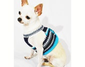 Velcro Dog Harness Casual Blue Turquoise Handmade Crochet Comfy Choke Free Pet Harnesses Puppy Teacup Chihuahua DH56 Myknitt - Free Shipping