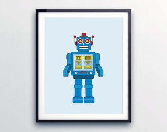 Kids wall art, Robot print nursery decor, nursery wall art, gender neutral nursery, Robot nursery. Robot art byLittle Grippers