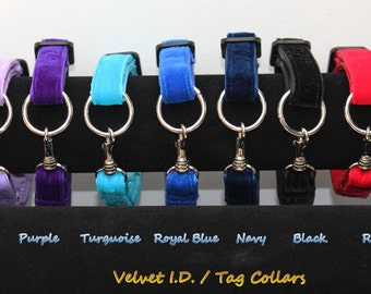 Easy On/Off adjustable Velvet I.D. / Tag / House Collars for Italian Greyhounds use alone or with martingales   for information  see details