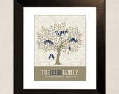Personalized Gift for Mom, Family Tree, Custom Art Print, Anniversary Gift for Grandparents, Love Birds, Navy and Taupe
