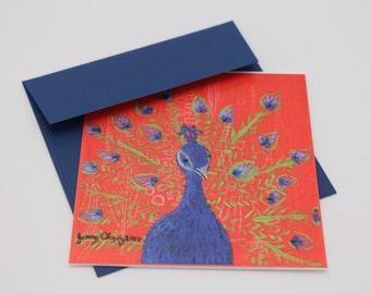 Peacock Notecard- Single Card