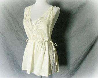 Vintage 70s Cream Lace Open Side Tie Camisole Top M Lingerie Tank Sheer Bohemian Festival