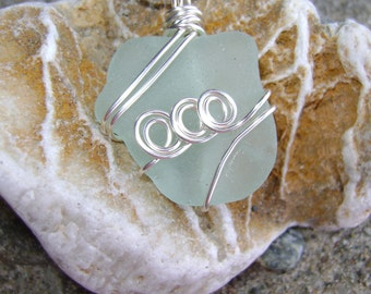 Handmade Seaglass Jewelry: Rare Seafoam Seaglass Necklace
