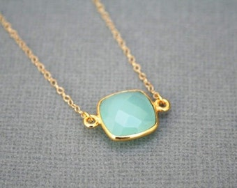 Mint Necklace in Gold. Mint Green Necklace.Bridesmaid Necklace.Wedding Necklace.Bridal Jewelry.Dainty.Delicate.Gold Mint Necklace.Minimalist