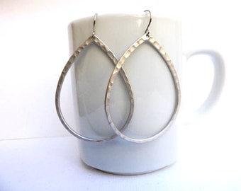 Silver Hammered Hoop Earrings. Silver Earrings. Large Earrings. Drop Earrings. Simple.Everyday. Silver Dangle Earrings. Minimalist. Minimal.