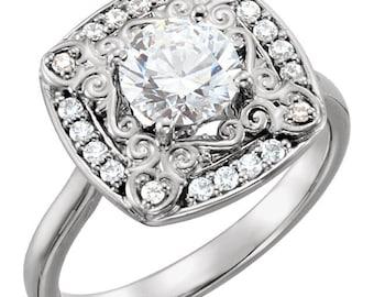 3/4 ct  6mm  Round Forever Brilliant Moissanite  14K White Gold  Halo-Styled  Engagement  Ring ST233563