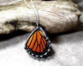 Real Monarch Butterfly Hindwing Pendant, Real Butterfly Jewelry