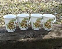 SIX, not four mushroom, butterfly, acorn coffee mugs, cups