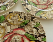 Set of Four Antique Brown Transferware Floral Chintz Bermuda Myott Plates / 1930's / England