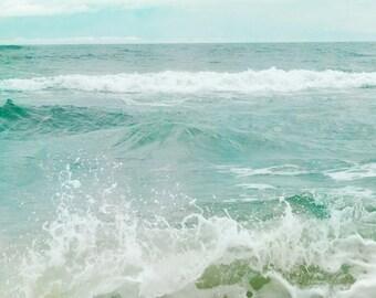 Ocean Photograph, Coastal Shore, Seascape, Sea Green, Aquamarine, Turquois Print, Ocean Waves, Ocean Horizon 8x10 and up