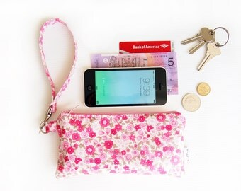 Wristlet Phone Wallet with Internal Pockets and Optional Shoulder Strap - Oilcloth Florals and Dots (Choose Your Print!)