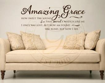 Amazing Grace Vinyl Wall Decal Wall Decor Hymn Verse Bible Inspirational Decal