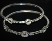 Vintage Set of Rhinestone Bangle Bracelets