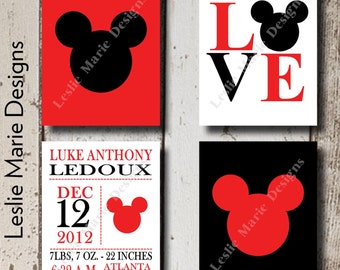 MICKEY MOUSE Wall Art - Nursery Kids Room - Canvas or Lustre Photo Paper