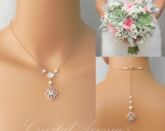 Pearl Bridal Necklace, Rose Gold, Dainty Backdrop Bridal Necklace, Wedding earrings, Vintage Style Bridal Jewelry SET, Lola Bridal Jewelry