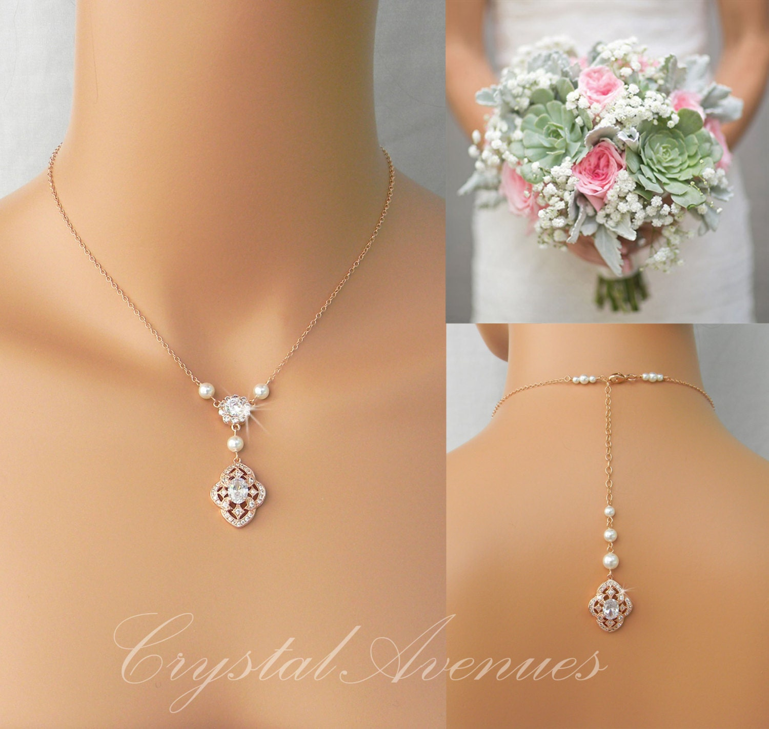 Pearl Bridal Necklace Rose Gold Dainty Backdrop Bridal