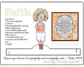 Instant Download, Printable Paper Doll, Sweet Wholesome, Modest, Strawberry Blonde, Faith, Fearfully and Wonderfully Made